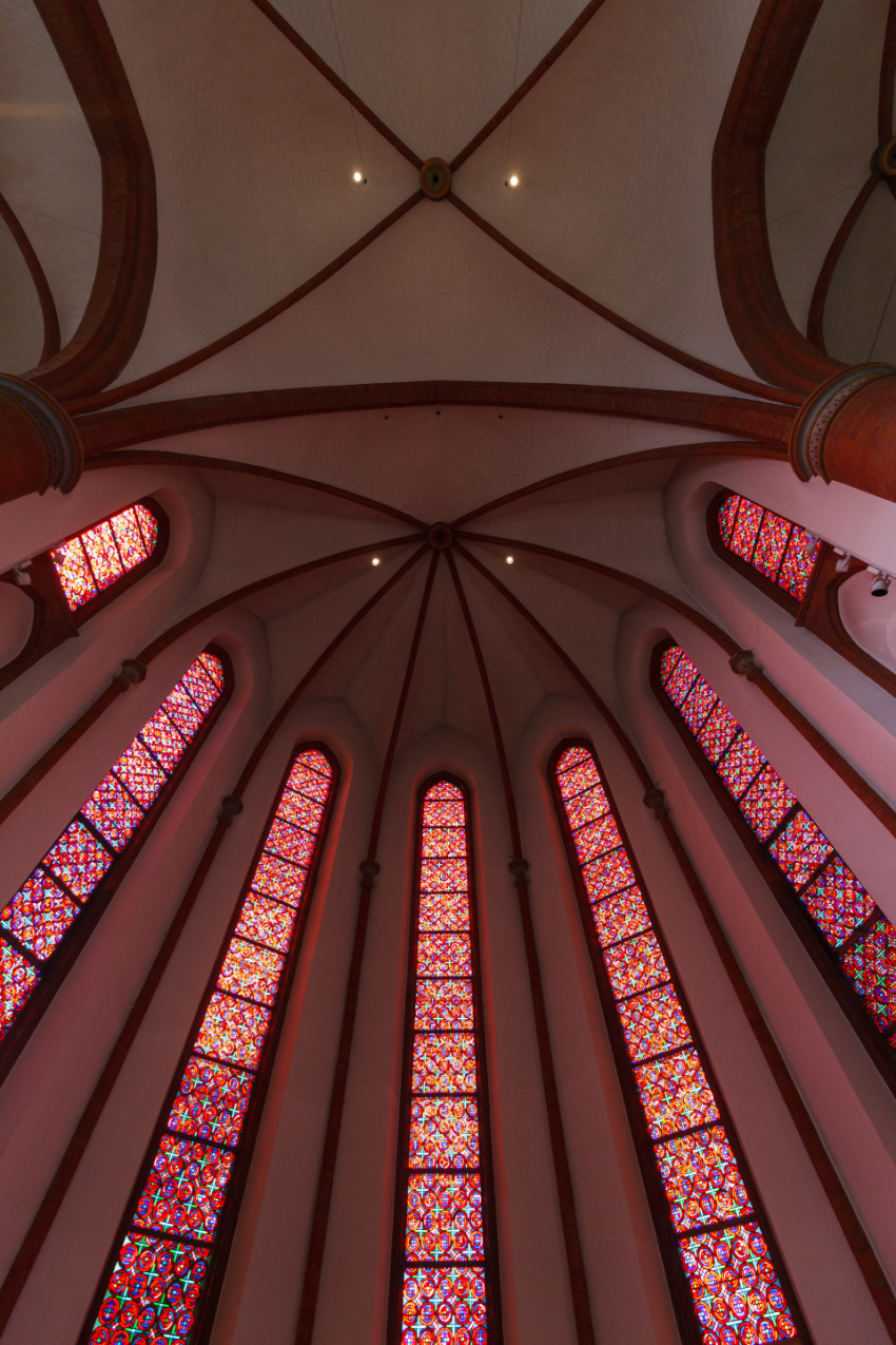 sacred heart church lubeck interior stained glass window