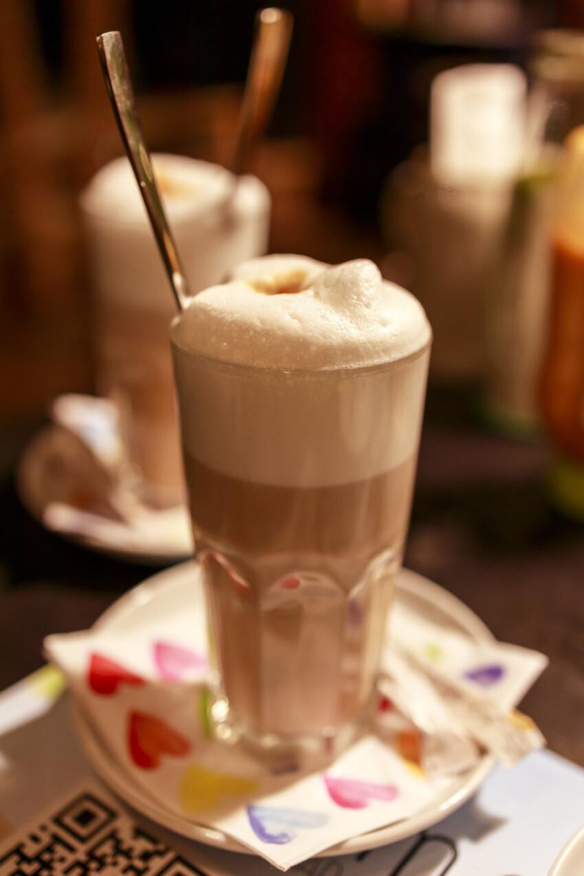Two glasses of latte macchiato coffee