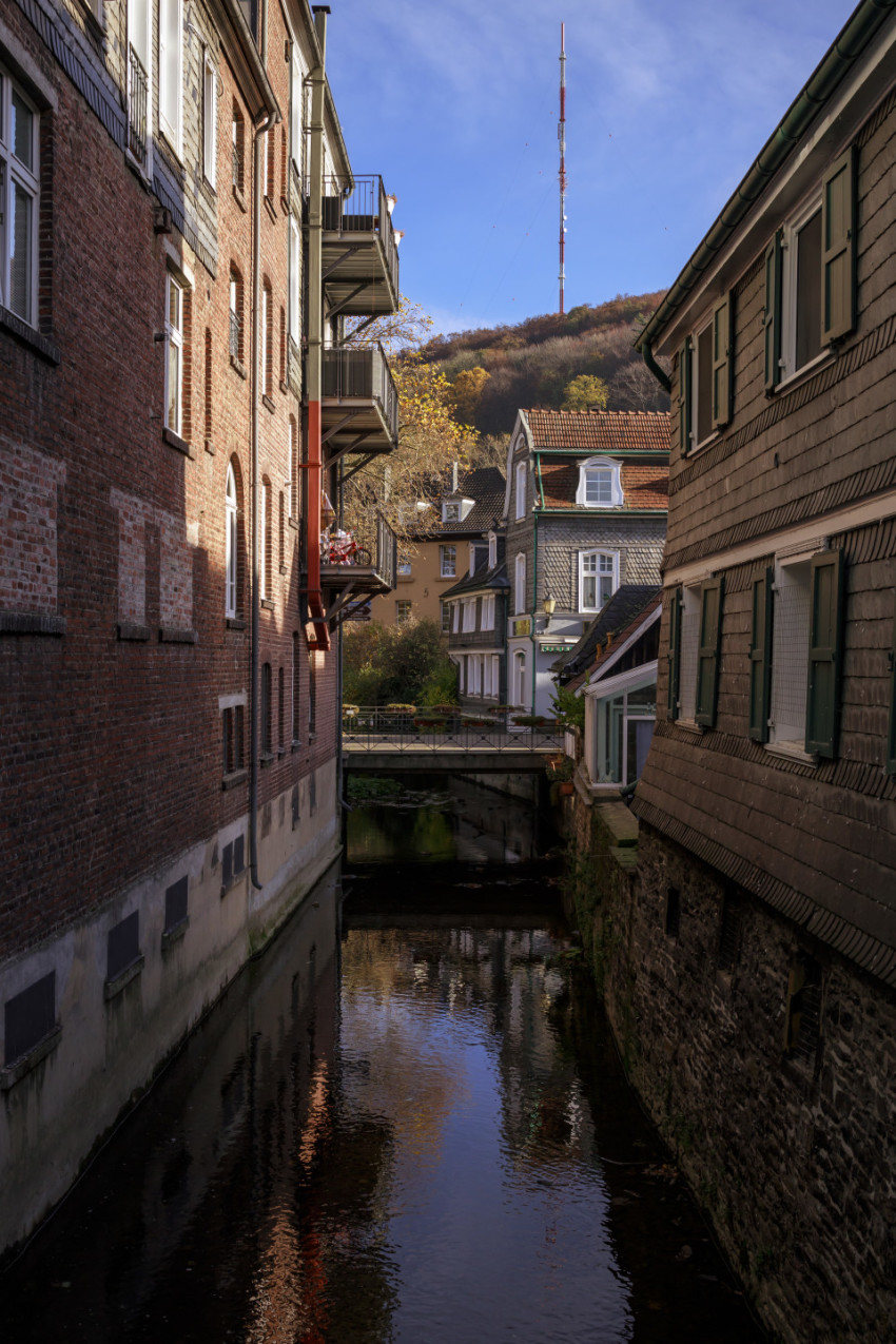 Deilbach flows through the old town of Langenberg in Germany