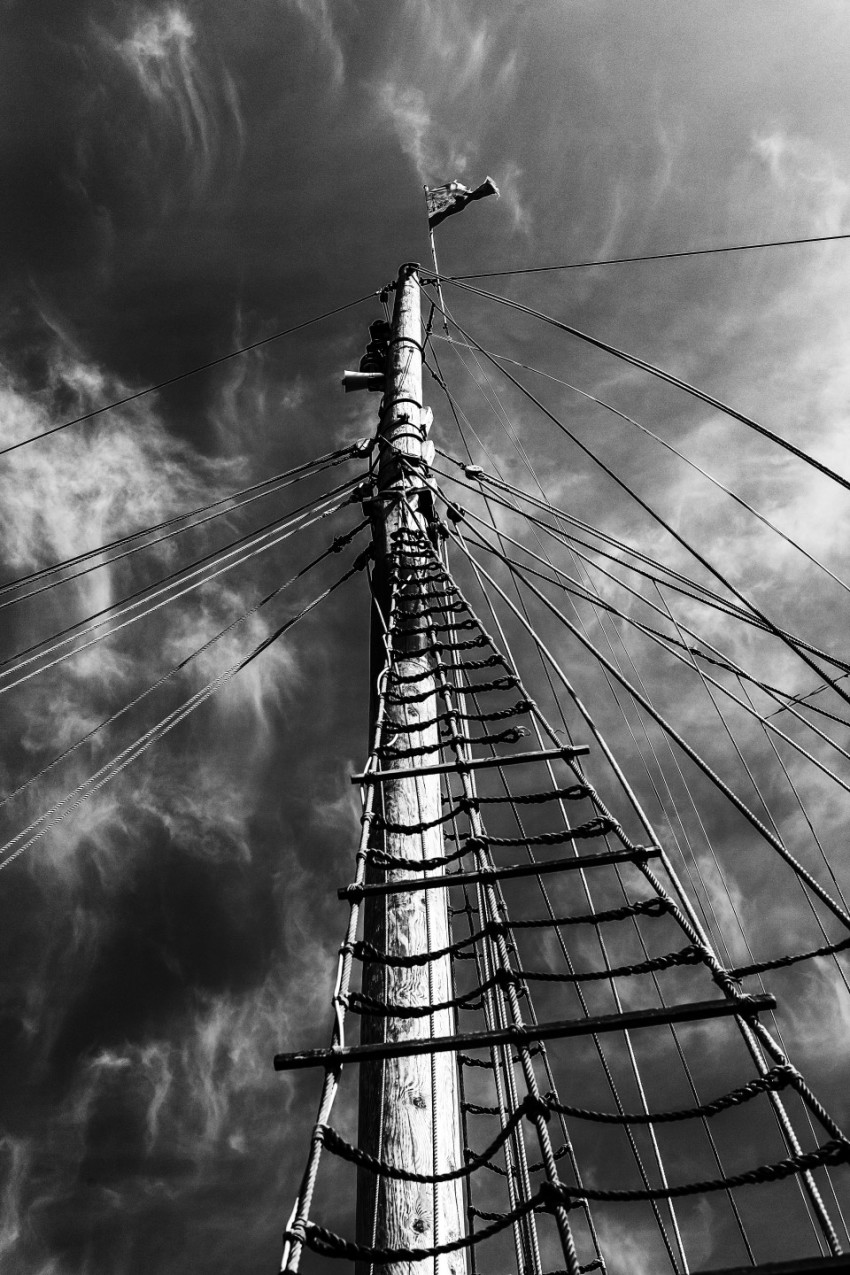 mast of a ship black and white