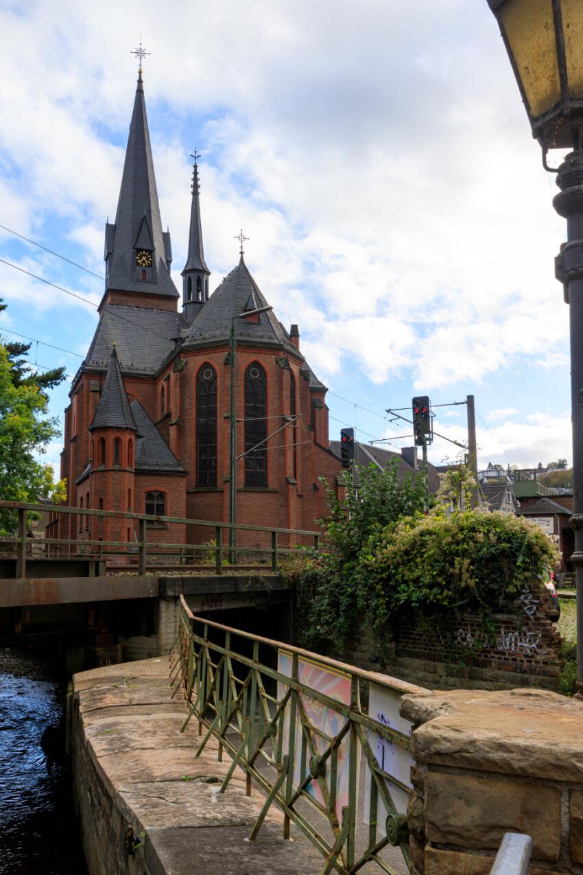 Beautiful view on St. Michael Church in Velbert Langenberg