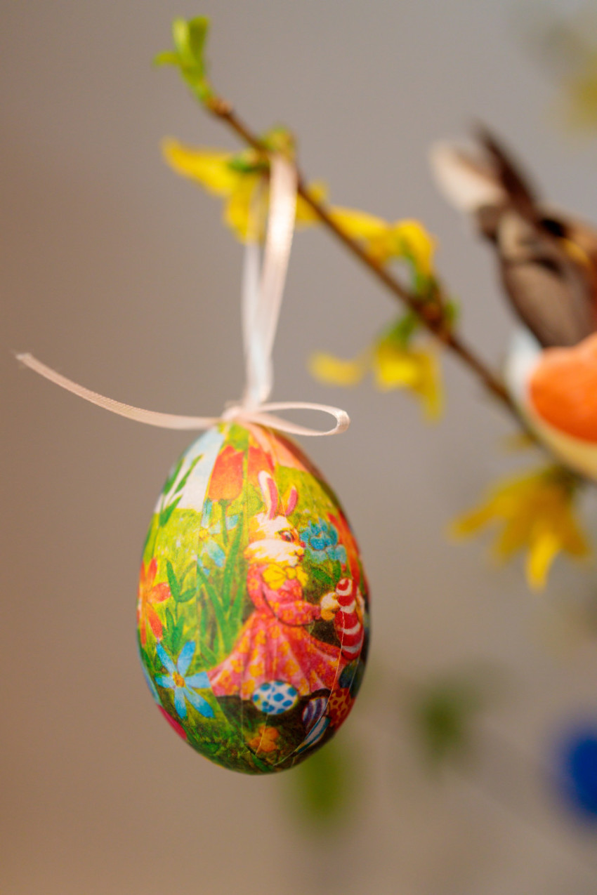Easter egg pasted with a serviette