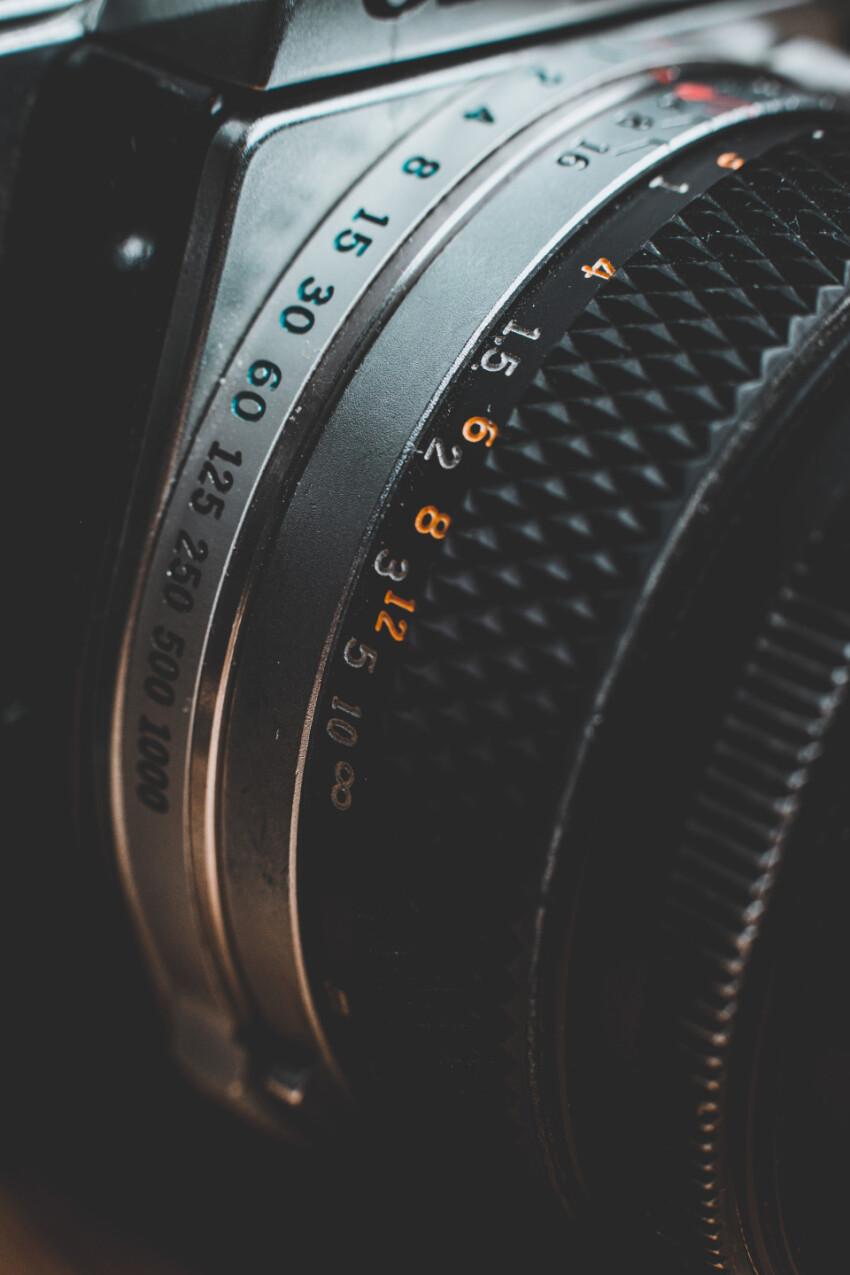 vintage camera lens close up