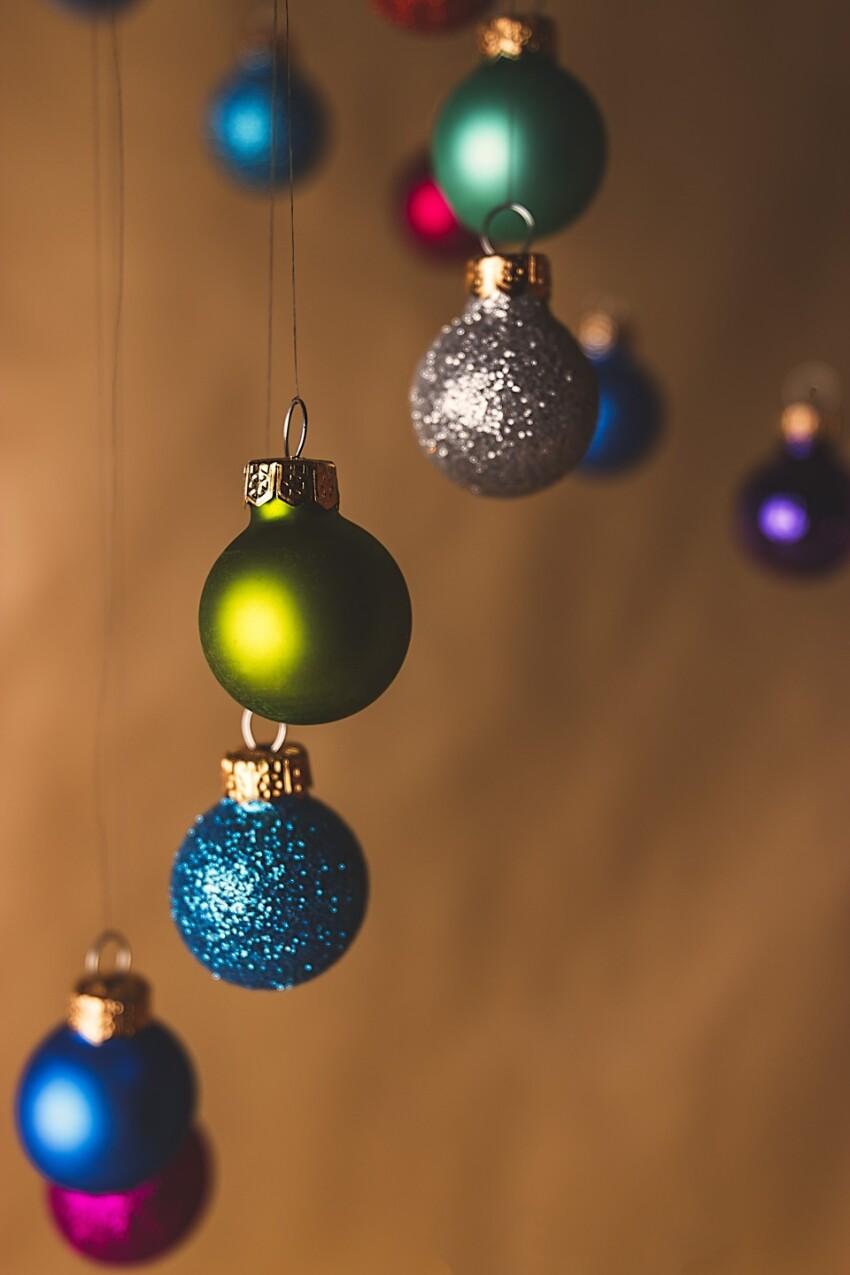 christmas tree balls brown background