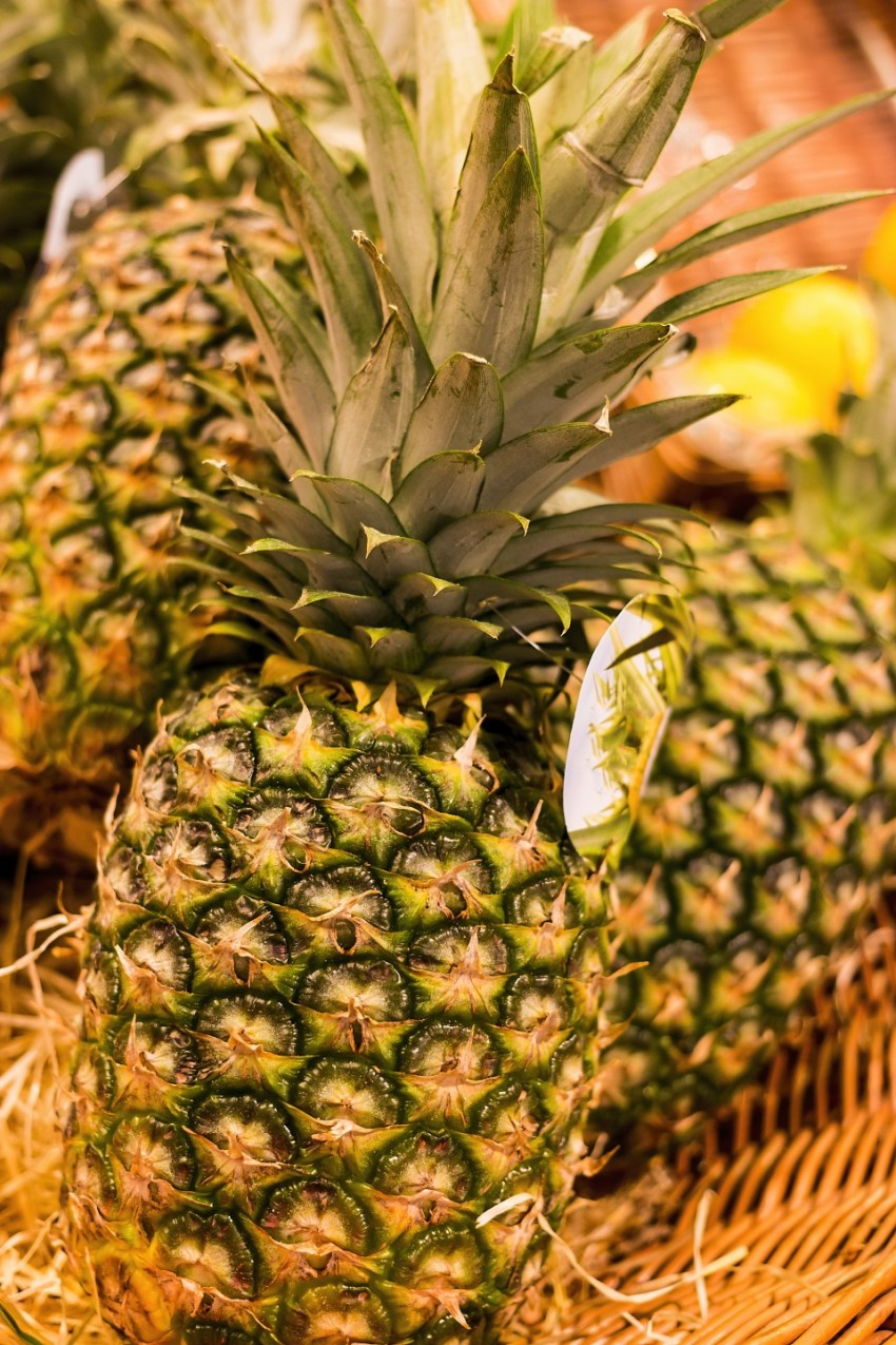pineapples in a basket