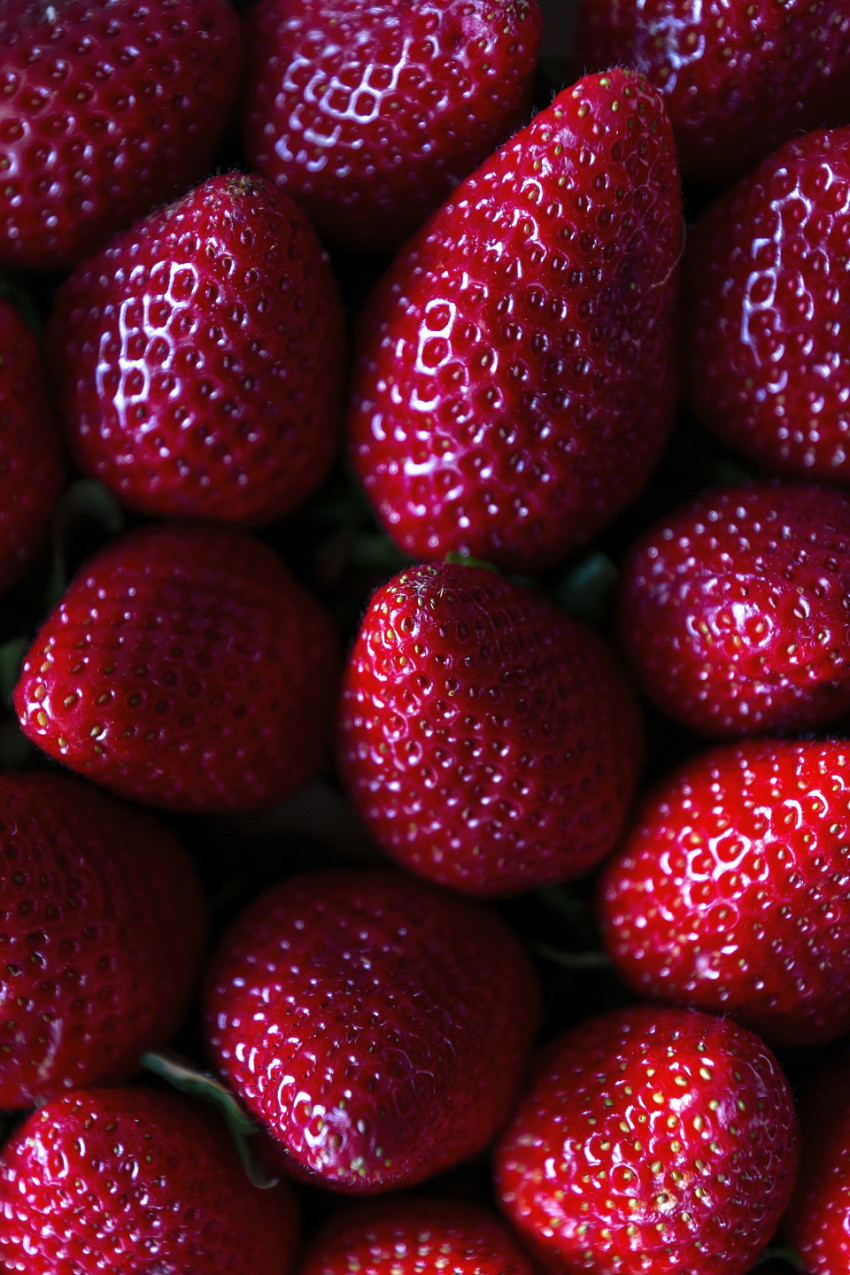fresh red strawberries without green leaves
