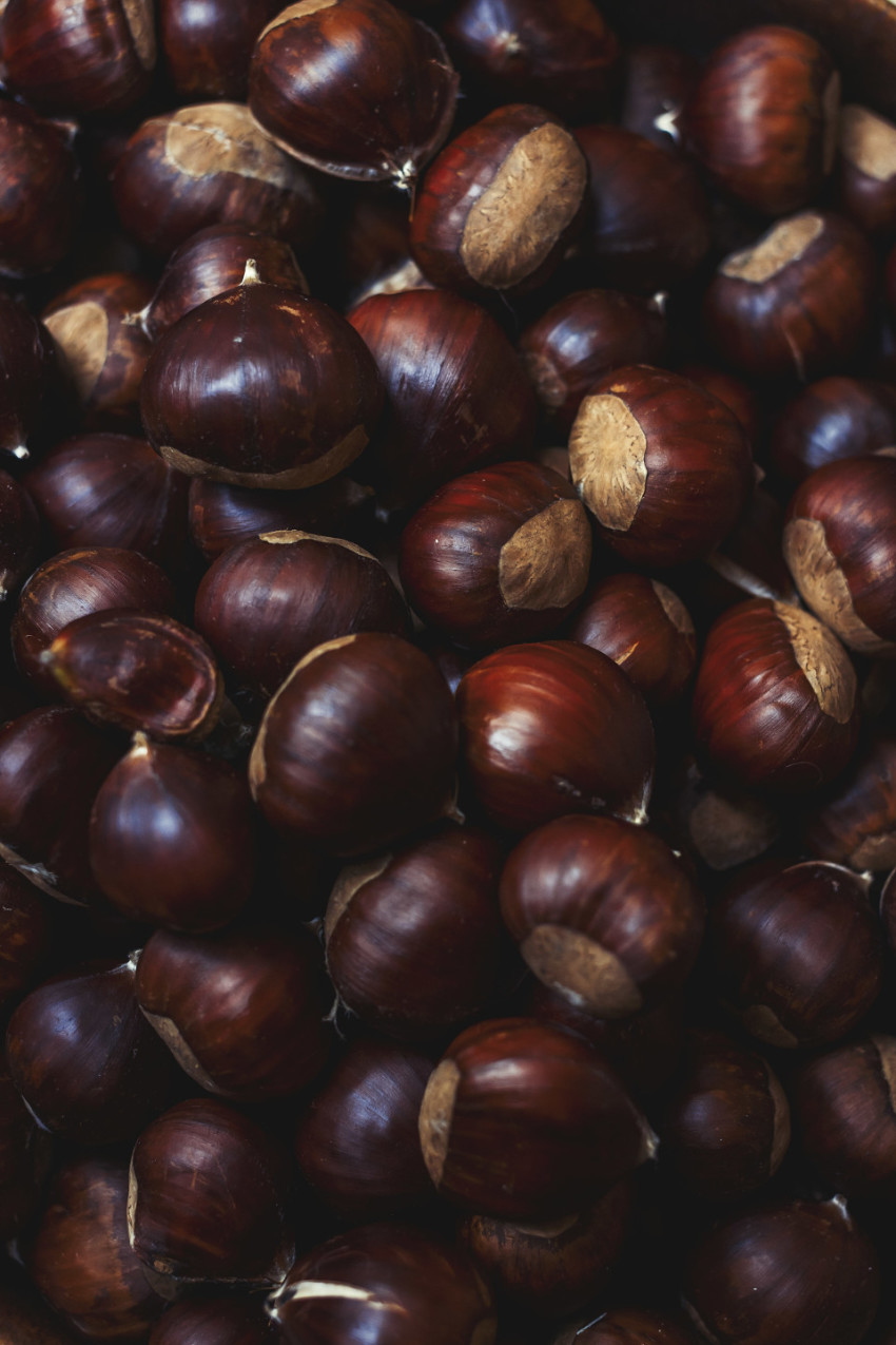many sweet chestnuts texture background