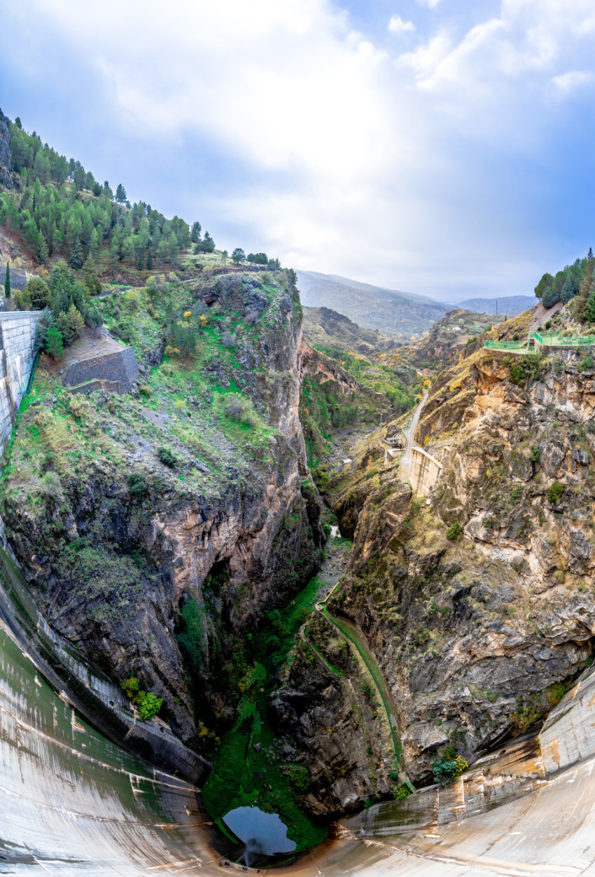 Looking down from a gigantic dam in Sierra Nevada
