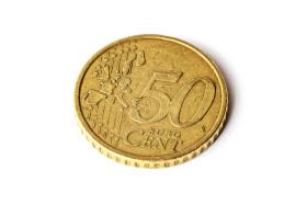 Stock Image: 50 euro cent isolated on white background