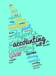 Stock Image: accounting arrow tag cloud blue