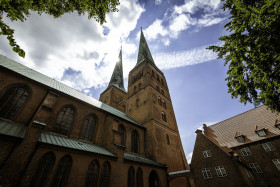 Stock Image: beautiful cathedral of the hanseatic city of lubeck