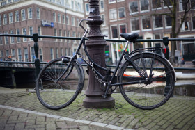 Stock Image: bicycle on lamppost