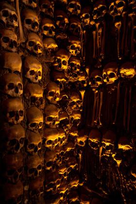Stock Image: capella dos ossos - Wall made of human bones