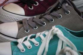 chucks in gray turquoise and burgundy