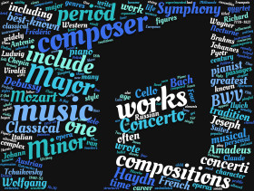 Stock Image: classical music tag cloud blue