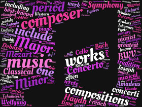 Stock Image: classical music tag cloud pink