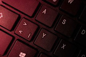 Close up of keyboard of a modern laptop or computer