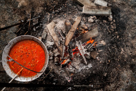 Stock Image: cooking at the campfire