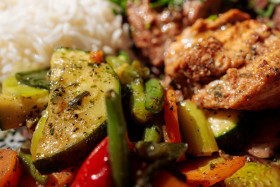 Stock Image: Delicious grilled vegetables meat and rice