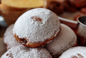 Stock Image: Doughnuts with icing sugar