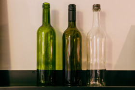 Stock Image: Empty wine bottles in three different shades