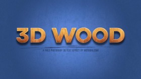 Stock Image: Free 3D Wood Text Effect for Photoshop (PSD)