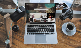 Stock Image: Free Desk and Mac Book Photoshop Mockup