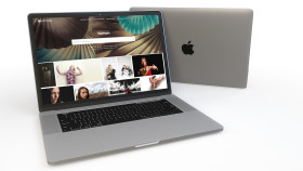 Stock Image: Free PSD Mac Book Mockup on White Background