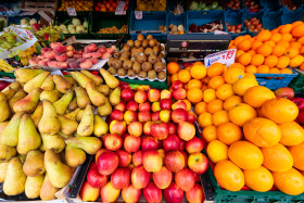 Stock Image: Fruits are offered for sale