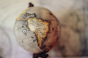 Stock Image: Globe with South America in focus