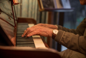 Stock Image: Hands on the piano