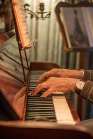 Stock Image: Hands on the piano vintage style