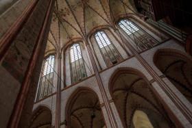 Stock Image: High pillars of the Marienkirche in Lübeck