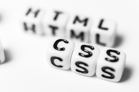 Stock Image: HTML & CSS - bright dice font concept
