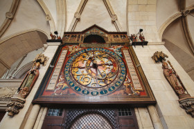 Stock Image: Imposing antique clock in a church