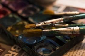 Stock Image: inkbox and brushes