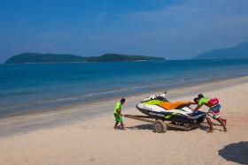 Stock Image: jet ski on the beach