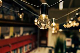 Stock Image: Light bulb light chain