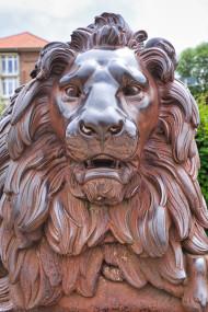 Stock Image: Lion head sculpture Lübeck's landmark