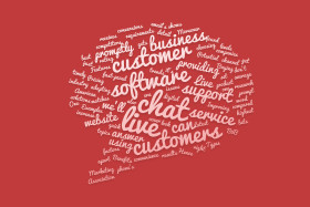 live chat bubble tag cloud red