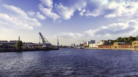 Stock Image: Lübeck harbor in summer