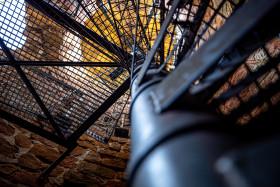 Stock Image: Metal spiral staircase