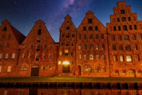 Stock Image: Milky Way over Lübeck - Salzspeicher