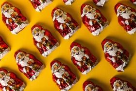 Stock Image: mini chocolate santas