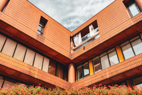 Stock Image: Modern architecture red building