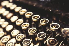 Stock Image: old vintage typewriter keys - keyboard