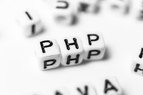 Stock Image: php as a word - bright dice font concept