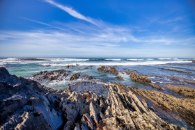 Stock Image: Portugal coast seascape panorama near Aljezur with rocks in the sea