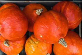 Stock Image: Pumpkins in a wooden box