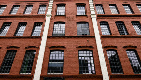 Stock Image: red industrial brick house